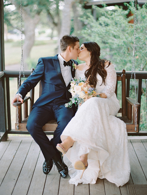 Picture of Bride and Groom on Porch Swing